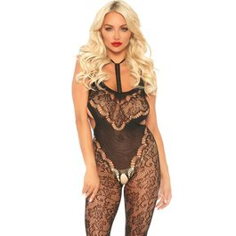 LEG AVENUE LACE BODYSTOCKING WITH CUT OUT T,.U.